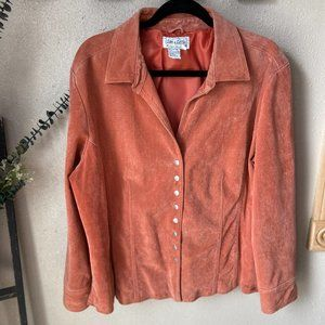 Live A Little Coral Leather Jacket 2X